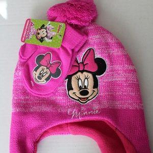 Toddler Girls Minnie Mouse Hat & Mitten Set